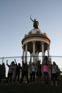 The statue of Herman the German (and students imitating him!)